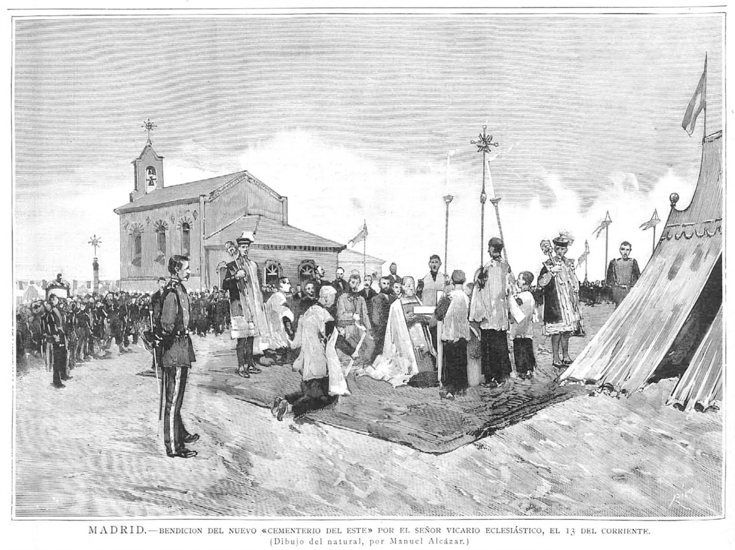Bendición del nuevo cementerio del Este el 13 de septiembre de 1884 (dibujo de Manuel Alcázar en La Ilustración Española y Americana)